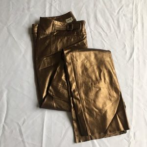 Cache // Brass, Gold Leather Wide Leg Pants 6